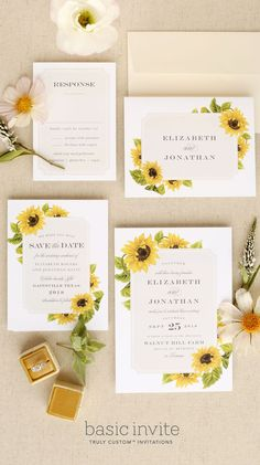 Sunflower Frame Wedding Invitations - Invitatioin Card - Ideas of Invitatioin Card - Bright and cheerful sunflowers frame this wedding invitation suite. Pictured: Sunflower Frame Wedding Invitation Save-The-Date Response Card and Thank You Card. Sunflower Wedding Invitations, Rustic Invitations, Wedding Invitation Design, Rustic Wedding Invitations, Wedding Stationery, Colorful Wedding Invitations, Event Invitations, Wedding Favours, Spring Wedding