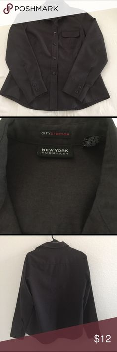 New York & Company City Stretch Medium Preowned from my personal closet. New York & Company City Stretch Long Sleeves top in dark gray color. It is in excellent condition. 100% polyester New York & Company Tops Button Down Shirts