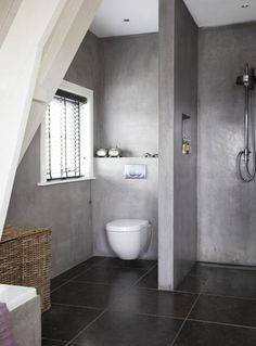Mooie badkamer maar stel je dan een bamboe-houten vloer erbij voor....geeft een veel lichtere sfeer