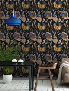 Mind the Gap Goldfish Behang: Hier Verkrijgbaar WP20300 - Luxury By Nature Modern Wallpaper, Cool Wallpaper, Designer Wallpaper, Pattern Wallpaper, Goldfish Wallpaper, Goldfish Types, Dark Grey Background, Mind The Gap, Nautical Design