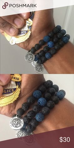 "REAL LAVA STONE ""Thin blue line bracelet"" Limited Edition REAL LAVA STONE ""Thin blue line bracelet"" with St.Michael's charm... All lives matter! Jewelry Bracelets"