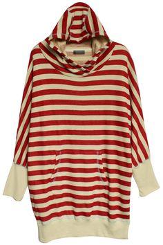 #Romwe Navy Striped Red Hoodie