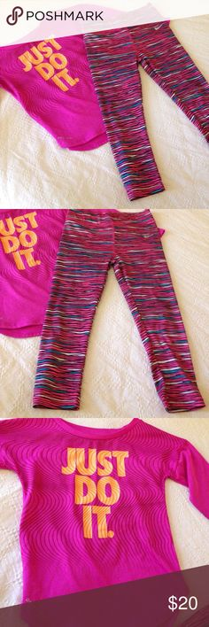 Nike top & leggings dri fit Used lightly and in great condition. Both designed by Nike comes with both items in these photos Nike Matching Sets