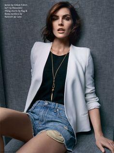 Hilary Rhoda wearing Chloe white blazer