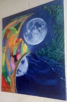 Oil painting on canvas  The Moon  By Andrey Arnoldov Original #SemiAbstract