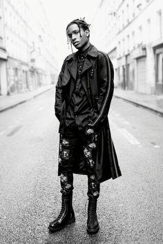 Asap rocky street fashion Fashion Killa, Look Fashion, Mens Fashion, Street Fashion Men, Fashion Outfits, Streetwear, Estilo Asap Rocky, Asap Rocky Dior, Asap Rocky Outfits