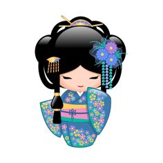 Vector illustration of a cute oriental kokeshi doll in a blue kimono with cheerful floral pattern. Kokeshi Tattoo, Asian Quilts, Doll Drawing, Geisha Art, Japanese Paper, Japanese Doll, Kokeshi Dolls, Matryoshka Doll, Asian Doll