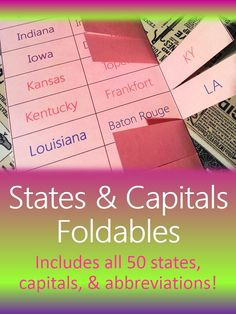 States, capitals, & abbreviations foldable that improves upon traditional state/capital flashcards! These foldables make fun  interactive student notebook (ISN) pages, center activities, and interactive study guides for homework practice. #Teachering