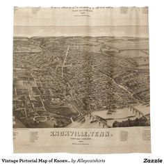 Vintage Pictorial Map of Knoxville (1886) Shower Curtain