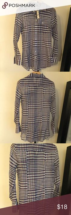 25f81415a0 NWT NY C Plaid Sheer Top NWT Silk Blend button down top by NY C. Purple and