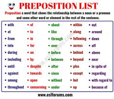 List of Prepositions: 100 Important Prepositions in English for ESL Learners! English Prepositions, English Verbs, English Vocabulary, English Grammar, English English, First Grade Math Worksheets, Vocabulary Worksheets, English Language Learning, Teaching English