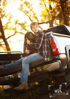 Senior Portraits Senior Guy Senior Boy Farmer Photos Dog Lab Pick-Up Truck Senior Photography Back End Down Sunset Country Buy Dirt Road Fall