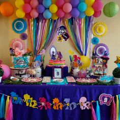 My Little pony Unicorn Birthday Parties, Unicorn Party, Birthday Party Decorations, My Little Pony Party, Rainbow Dash Birthday, Dora, Rainbow Parties, Equestria Girls, Birthdays