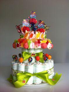 Torta pannolini e caramelle compleanno 2 anni