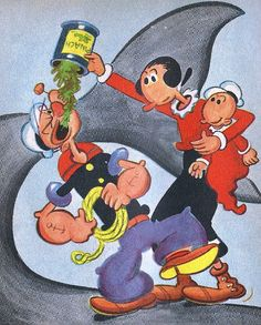 Vintage 1950's Popeye Goes on a Picnic, copyright 1958  Sailorman As Seen On TV Cartoon Characters Cartoons Olive Oyl, Wimpy, Swee' Pea, Sto...