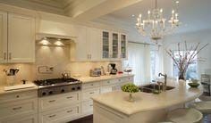 Crema Marfil Extra Countertops - White Cabinets