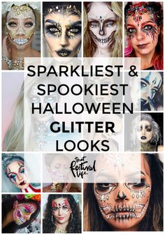 4 Extra Sparkly, Spooky and Stunning Halloween Glitter Make-up and Face Paint Inspiration Ideas Glitter Face Paint, Glitter Makeup, Glitter Gif, Halloween Looks, Halloween Makeup, Glitter Force Costume, Face Paint Makeup, Scary Pumpkin, Lip Liner