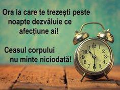 Ora la care te trezești în timpul nopții arată ce probleme de sănătate ai! Ceasul corpului nu minte niciodată! - Healthy Romania Metabolism, Good To Know, Cardio, Knowledge, Health Fitness, Healthy, Pandora, Sciatica, Alphabet