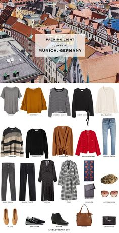 What to Pack for Munich, Germany Are you going to Munich, and the Bavarian region in spring? Do you need some help packing? Head over to my post on what to pack and outfit ideas. Packing For Europe, Packing List For Travel, Travel Checklist, Fall Packing, Vacation Packing, Travel Europe, Germany Outfits, Travel Clothes Women, Capsule Wardrobe