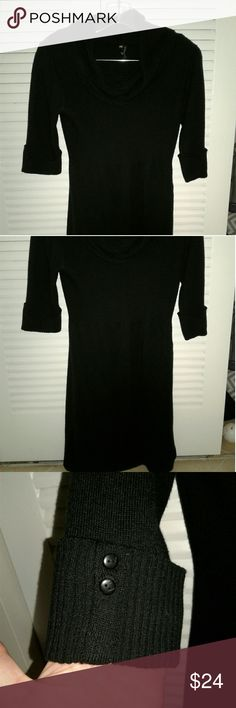 Cowl neck sweater dress Black cowl neck sweater dress. Has cuffed sleeves that hit above the elbow. Dress is short, mid thigh. Looks great with tights! I also have it in gray, check my closet! Dresses Midi