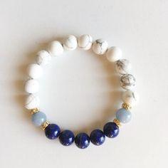 Angelite, Lapis Lazuli & White Howlite Bracelet – Mercantile Americana Everything Healing Bracelets, Gemstone Bracelets, Gemstone Beads, Jewelry Bracelets, Paracord Bracelets, Crystal Jewelry, Beaded Jewelry, Handmade Jewelry, Diamond Jewelry