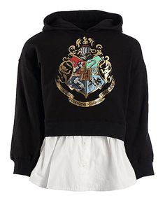 050af68fc5bd7 Bioworld Harry Potter Black   White Puplum-Accent Hogwarts Crest Hoodie -  Girls