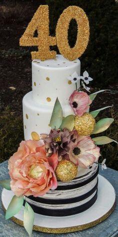 Wafer paper flowers adorn a simple cake design. #glamcake #beeskneescustomcakes #clevelandbakery #glam40
