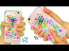 Pinned onto DIY Hacks Saved in life hacks Category Diy Crafts For Kids, Fun Crafts, Arts And Crafts, Craft Ideas, Iphone Cases Cute, Diy Phone Case, Blue And Green, Diy Slime, Bling