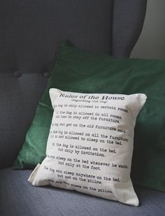 House Rules Pillow by Dog City and Co.