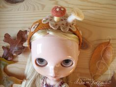 Autumn Mushrooms headband for Blythe