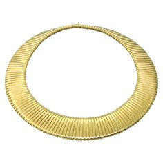 Weingrill Tubogas Wide Gold Necklace | From a unique collection of vintage more necklaces at https://www.1stdibs.com/jewelry/necklaces/more-necklaces/
