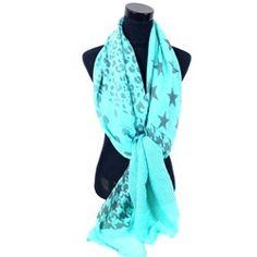 Mint groene sjaal met verschillende printen