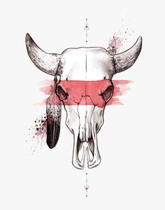 Raging Bull - Print of Original Illustration, Native, Tribal, Bull Skull, Feather, Native Print, Watercolor, Warrior