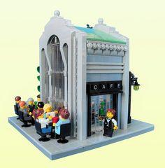 French cafe in an Art Noueau style.  LEGO Model by Lego_fan.