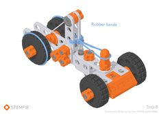 Rubber band-driven car - STEMFIE Mousetrap Car, School S, Rubber Bands, Pulley, Educational Toys, 3d Printer, Projects, Log Projects, Blue Prints