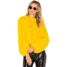 Ganni Julliard Mohair Sweater ($470) ❤ liked on Polyvore featuring tops, sweaters, sweaters & knits, mohair sweaters, ganni top, yellow sweater, yellow top and ganni sweater