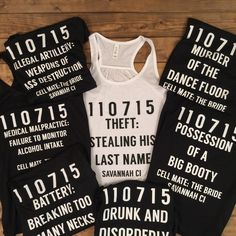 These are hilarious!  Arrest record Bridesmaid tanks, funny bridesmaid shirts, bridal party shirts, glitter bride shirts, team bride shirts, bachelorette shirts, by laststopb4theknot on Etsy https://www.etsy.com/listing/243748118/arrest-record-bridesmaid-tanks-funny