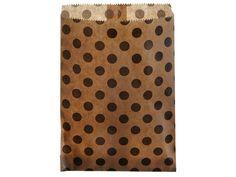 24 Kraftpapiertüten schwarz gepunktet 13 x 16,5 cm