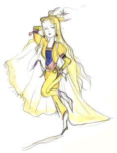 Final Fantasy VI - Celes [Chibi] Concept Art - Yoshitaka Amano