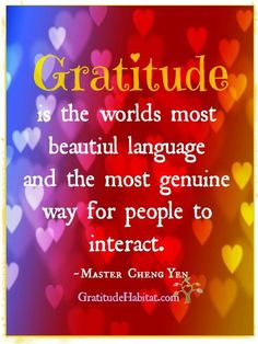 Gratitude is the worlds most beautiful language and the most genuine way for people to interact. Gratitude is a beautiful language.  -Master Cheng Yen