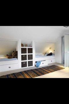 Ideas For Bedroom Attic Ideas Slanted Walls Bonus Rooms Attic Bedrooms, Shared Bedrooms, Kids Bedroom, Bedroom Loft, Loft Beds, Bedroom Ideas, Kids Rooms, Bunk Beds, Upstairs Bedroom