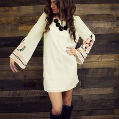 hippie ivory style embroidered bell sleeve flare ...