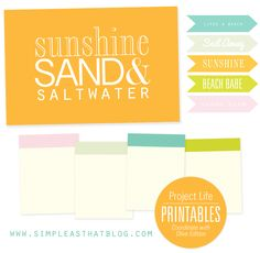simple as that: Sunshine Sand and Saltwater free printables for Project Life