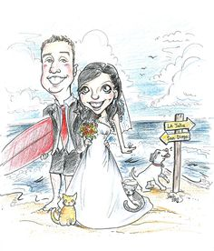 Special request caricature wedding theme at smaller 8x10 size, beach theme and pets :)