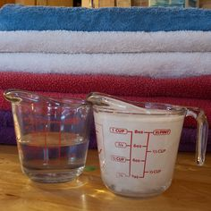 Home-made liquid Laundry Detergent and Softener...pretty much the recipe I use and it works great (except on my cloth diapers, they don't seem to like the detergent much).  Plan to never go back.