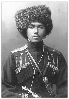 A Kuban Cossack.Private bodyguards of the Tsar and their family. Old Photos, Vintage Photos, Ukraine, Bolshevik Revolution, Russian Revolution, Imperial Russia, Men In Uniform, Portraits, Interesting History
