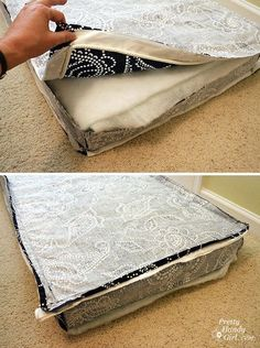 bench seat cushion tutorial made from a shower curtain - These would be easier to wash. Great idea for outdoor cushions! Sewing Hacks, Sewing Tutorials, Sewing Crafts, Sewing Patterns, Sewing Tips, Banquette Palette, Cushion Tutorial, Pillow Tutorial, Zipper Tutorial