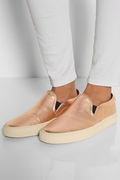 Common Projects | Metallic leather slip-on sneakers | NET-A-PORTER.COM