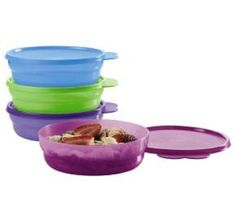NEW Tupperware® 4pc microwave classic CEREAL BOWL SET Cool Colors FREE SHIP