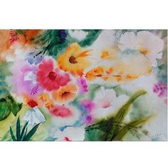 Trademark Art Watercolor Flowers Canvas Art by Sheila Golden, Size: 16 x 24, Multicolor
